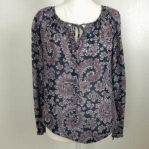 Lucky Brand Blue Paisley Blouse Size Small